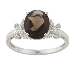 Viducci 10k White Gold Smokey Quartz and 1/10ct TDW Diamond Ring (G-H, I1-I2)