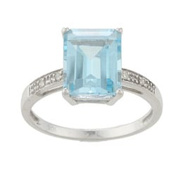 Viducci 10k White Gold Blue Topaz and Diamond Ring