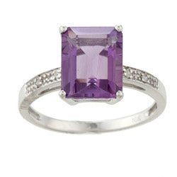 Viducci 10k White Gold Amethyst and Diamond Ring