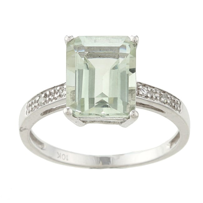 Viducci 10k White Gold Green Amethyst and Diamond Ring