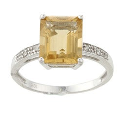Viducci 10k White Gold Emerald-cut Citrine and Diamond Ring