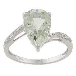 Viducci 10k White Gold Pear-cut Green Amethyst and Diamond Ring