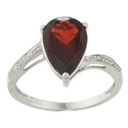 Viducci 10k White Gold Garnet and Diamond Ring