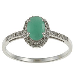 Viducci 10k Gold Emerald and 1/8ct TDW Diamond Ring (G-H, I1-I2)