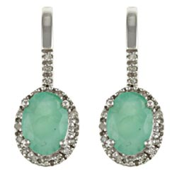 Viducci 10k White Gold Emerald and 1/5ct TDW Diamond Earrings (G-H, I1-I2)