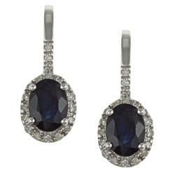 Viducci 10k White Gold Sapphire and 1/5ct TDW Diamond Earrings (G-H, I1-I2)