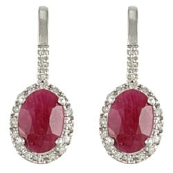 Viducci 10k White Gold Ruby and 1/5ct TDW Diamond Earrings (G-H, I1-I2)