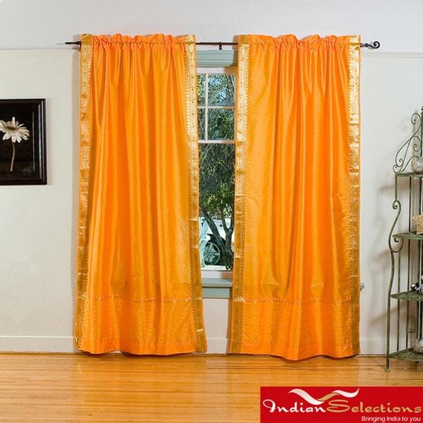 Pumpkin Rod Pocket Sheer Sari Curtain Panel Pair (India)