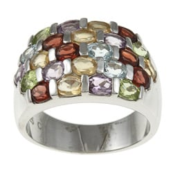 La Preciosa Sterling Silver Multi-Colored Gemstone Ring