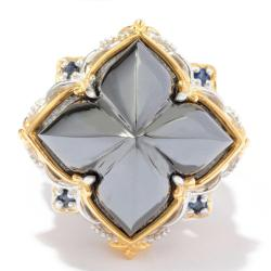 Michael Valitutti Two-tone Hematite and Blue Sapphire Ring
