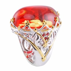 Michael Valitutti Two-tone Carved Amber and Orange Sapphire 'Cupid' Ring