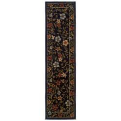 Floral Black Rug (1'10 x 7'3)