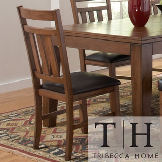 TRIBECCA HOME Kai Oak Brown Side Chairs (Set of 2)