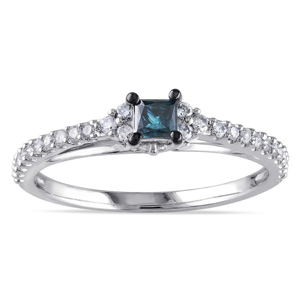 Miadora 10k White Gold 1/2ct TDW Princess-cut Blue and Round White Diamond Stackable Engagement Ring (G-H, I2-I3)