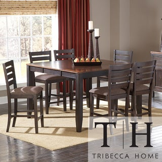 Tribecca Home Nolan Two-tone Espresso 7-piece Mission Casual Counter Dining Set