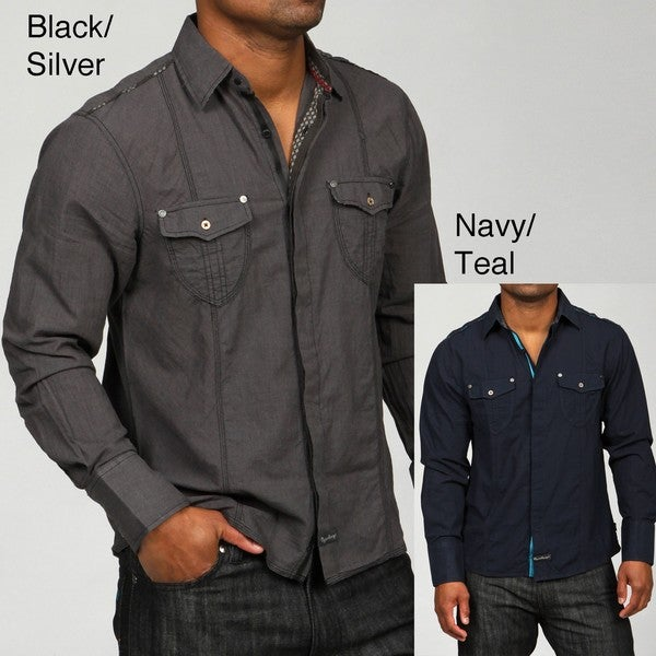 English Laundry Men's Lock Branch Woven Shirt