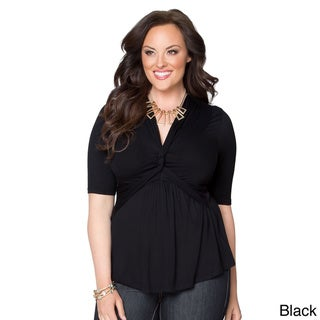 Kiyonna Women's Plus Size V-neck 3/4-sleeve Top
