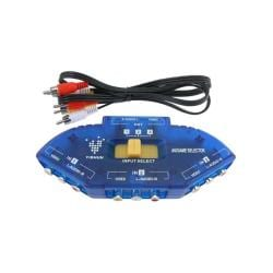 3-foot Blue/ Black 3-to-1 Composite AV signal Switch with RCA Cable