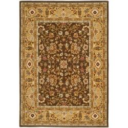 Handmade Majesty Brown/ Gold New Zealand Wool Rug (5'3 x 7'6)