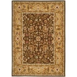 Handmade Majesty Brown/ Gold New Zealand Wool Rug (5'3 x 7'6)
