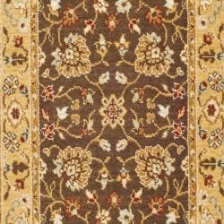 Handmade Majesty Brown/ Gold New Zealand Wool Rug (2'3 x 7'6)