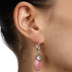 Southwest Moon Sterling Silver Rhodonite Leverback Earrings