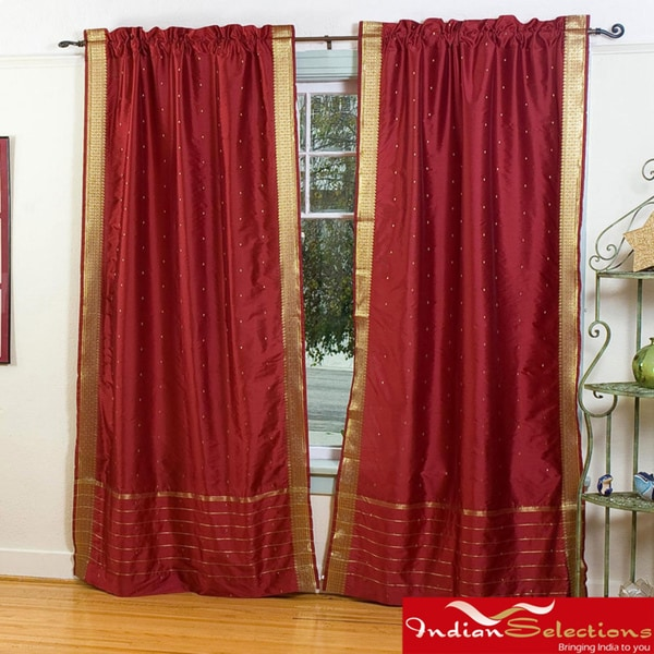 Maroon 84-inch Rod Pocket Sheer Sari Curtain Panel Pair (India)