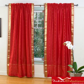 Fire Brick Red 84-inch Rod Pocket Sheer Sari Curtain Panel Pair (India)