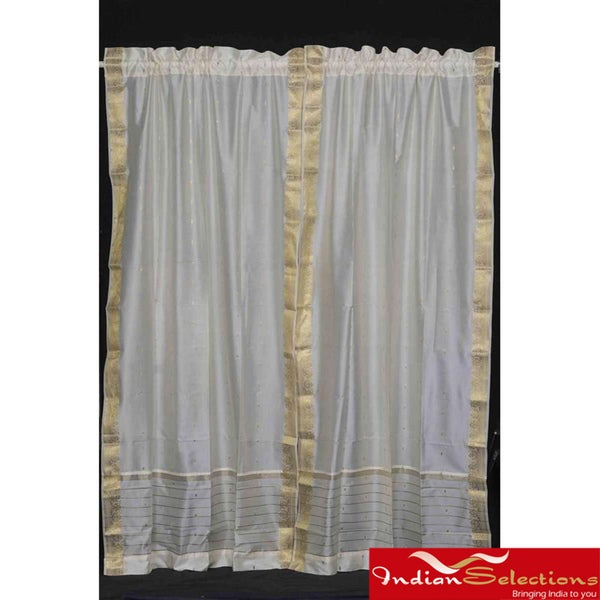 Cream 84-inch Rod Pocket Sheer Sari Curtain Panel Pair (India)