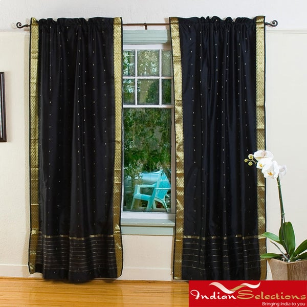 black 84 inch rod pocket sheer sari curtain panel pair