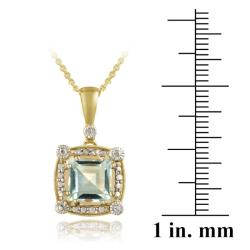 Glitzy Rocks 18k Gold over Silver Blue Topaz and Diamond Necklace