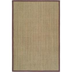 Hand-woven Stripes Multicolor/ Purple Fine Sisal Rug (5' x 8')