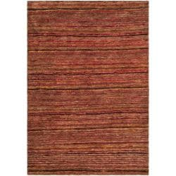 Hand-knotted All-Natural Striped Red/ Multi Rug (8' x 10')