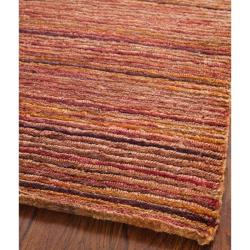 Safavieh Hand-knotted All-Natural Striped Red/ Multi Rug (8' x 10')