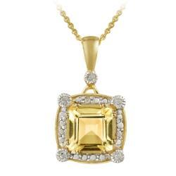 Glitzy Rocks 18k Gold over Silver Citrine and Diamond Necklace