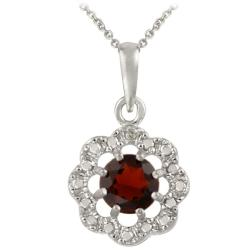 Glitzy Rocks Sterling Silver Garnet and Diamond Accent Flower Necklace