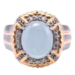 Michael Valitutti Palladium Silver Aquamarine and Green Sapphire Ring
