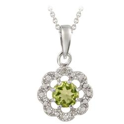Glitzy Rocks Sterling Silver Peridot and Diamond Accent Flower Necklace