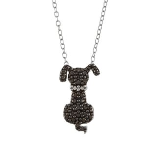 DB Designs Sterling Silver Black Diamond Accent Dog Necklace