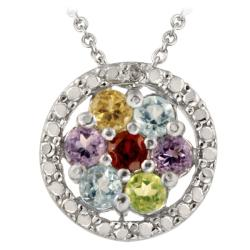 Glitzy Rocks Silver Multi-gemstone and Diamond Flower Necklace