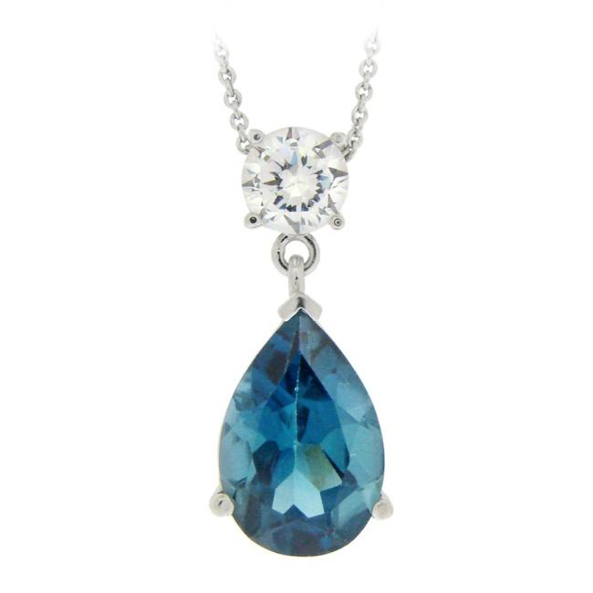 Glitzy Rocks Sterling Silver 7 1/2ct TGW London Blue Topaz Necklace