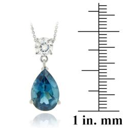 Glitzy Rocks Sterling Silver 7 1/2ct TGW London Blue Topaz Necklace
