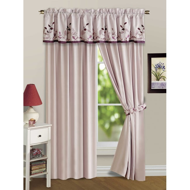 Embroidered Leaves 5-piece Plum Curtain Panel Set