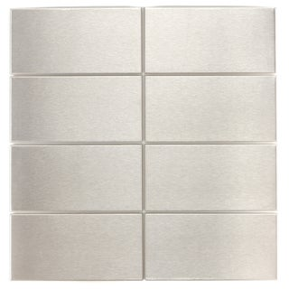 Brushed Silver 3x6-inch Metal Wall Tiles K-446 (Case of 88)