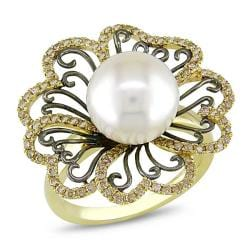 Miadora 14k Yellow Gold FW Pearl and 3/5ct TDW Brown Diamond Ring (10-10.5 mm)