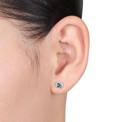 Miadora 14k White Gold 1/2ct TDW Blue and White Diamond Halo Earrings(G-H, I3)