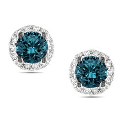 Miadora 14k White Gold 1/2ct TDW Blue and White Diamond Halo Earrings(G-H, I3)