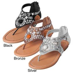 Journee Collection Girl's 'Oba-9' Embellished T-strap Sandals
