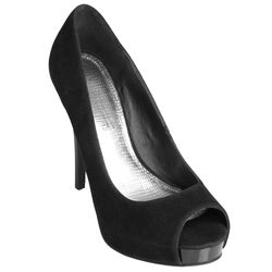 Journee Collection Women's 'Obscene-76' Faux Suede Peep Toe Stilettos