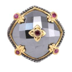 Michael Valitutti Palladium Silver Hematite and Ruby Ring